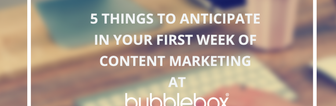 5 Things to Anticipate in your First Week of Content Marketing at Bubblebox